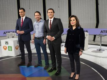 Pedro Sánchez, Pablo Iglesias, Albert Rivera y Soraya Sáenz de Santamaría en '7D: El Debate Decisivo'